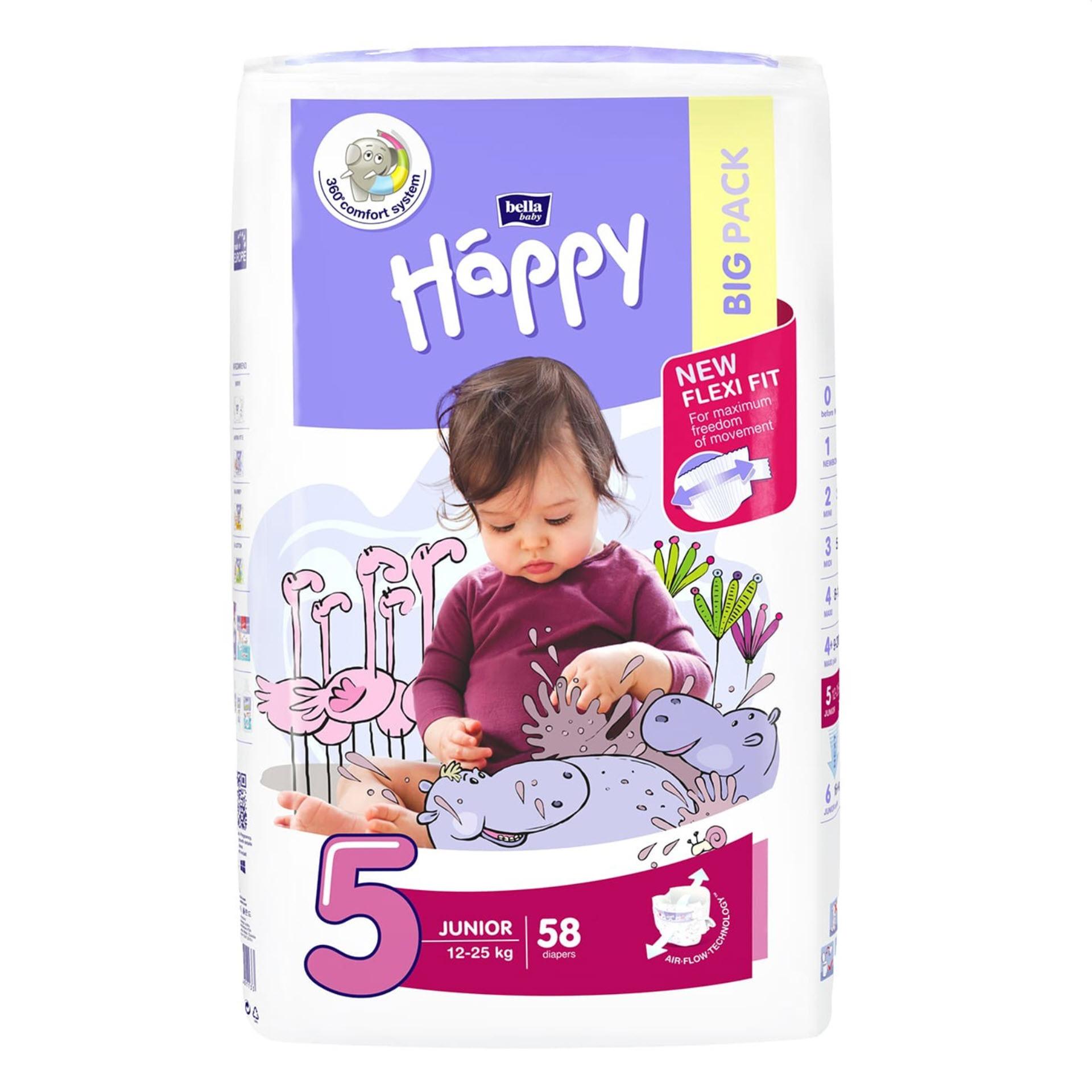 Bella Baby Happy Windeln Junior - Größe 5 (12-25 kg) Big Pack mit 58 Stück