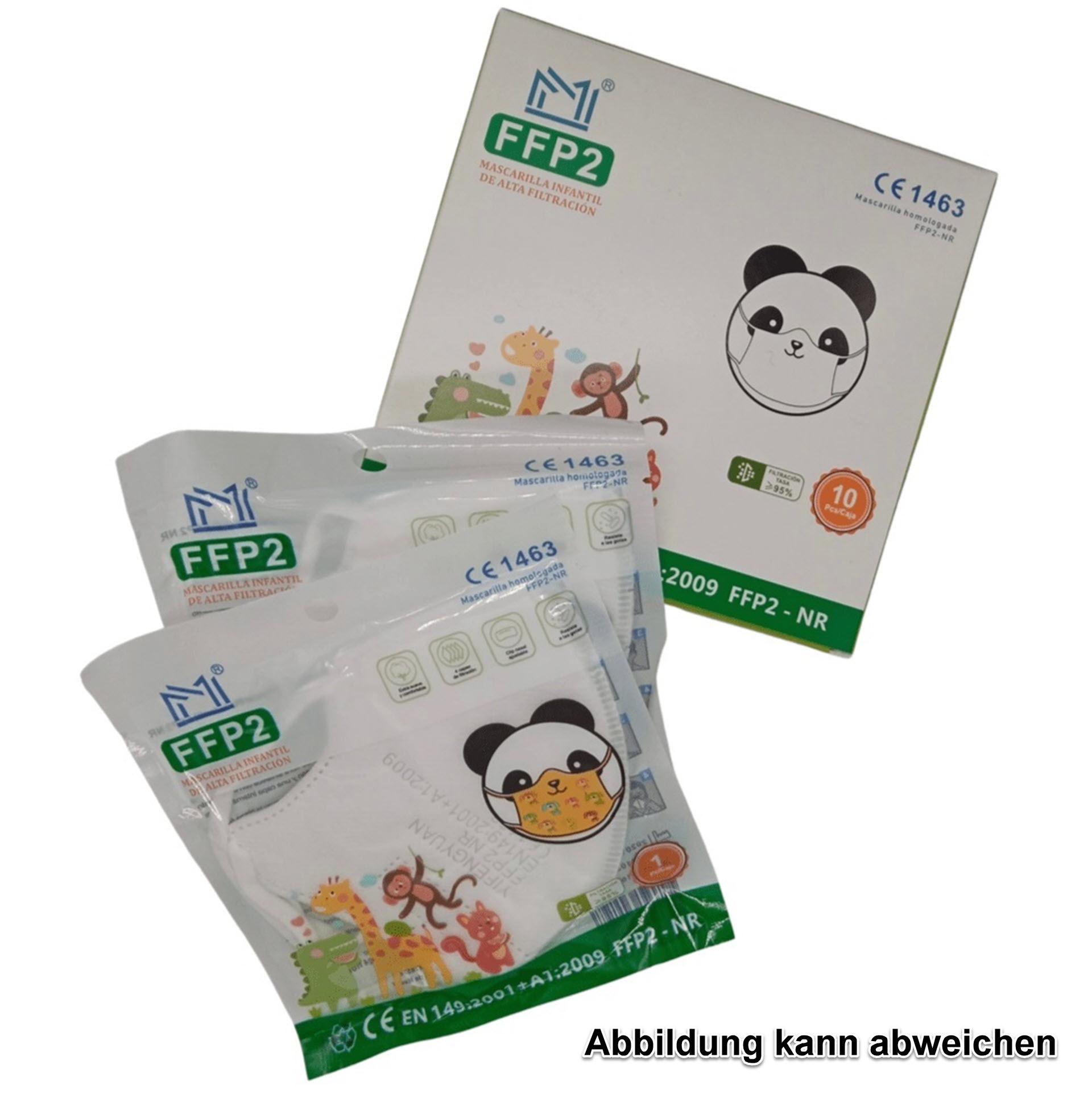 Kinder-Atemschutzmaske - FFP2 NR Schutzklasse - mit buntem Aufdrucken (CE 1463 / EN:149:2001+A1:2009)