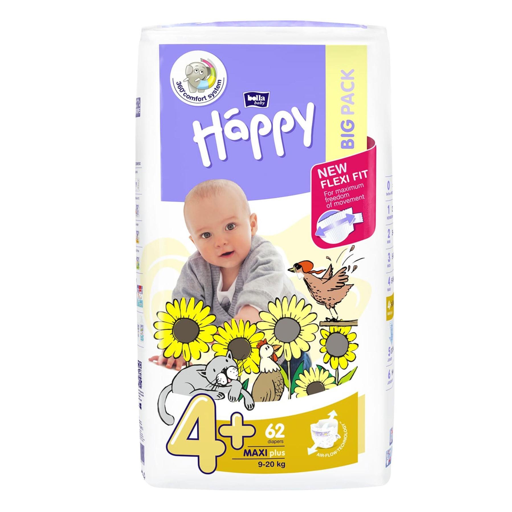 Bella Baby Happy Windeln Maxi Plus - Größe 4+ (8-18 kg) Big Pack mit 62 Stück