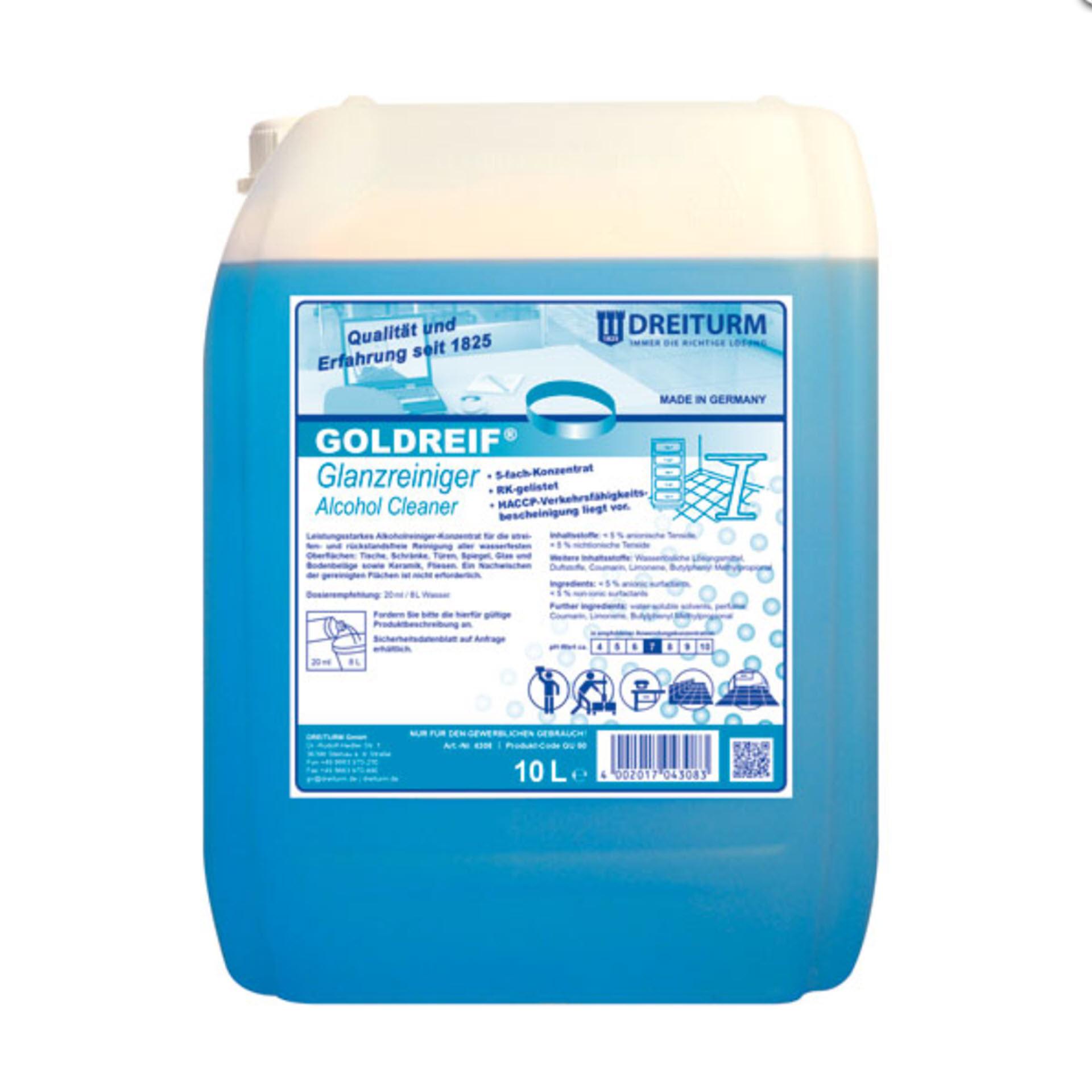 Dreiturm GOLDREIF® Glanzreiniger / Alkoholreiniger  - 5-fach Konzentrat - 10 Liter Kanister