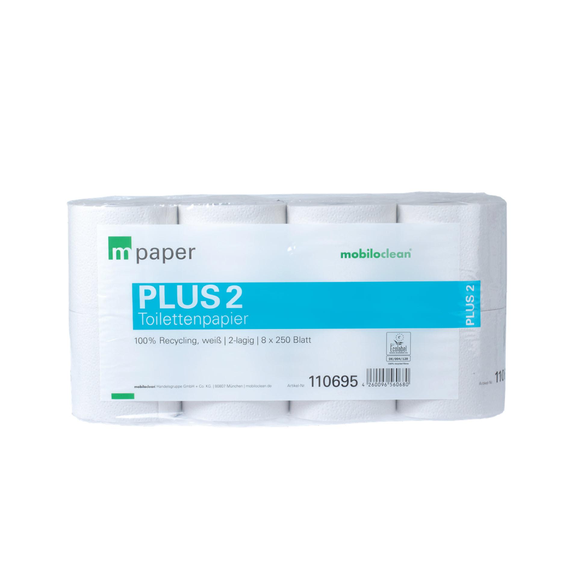 mpaper PLUS2 WC-Papier / Toilettenpapier 2-lagig Tissue Recycling - Pack mit 64 Rollen