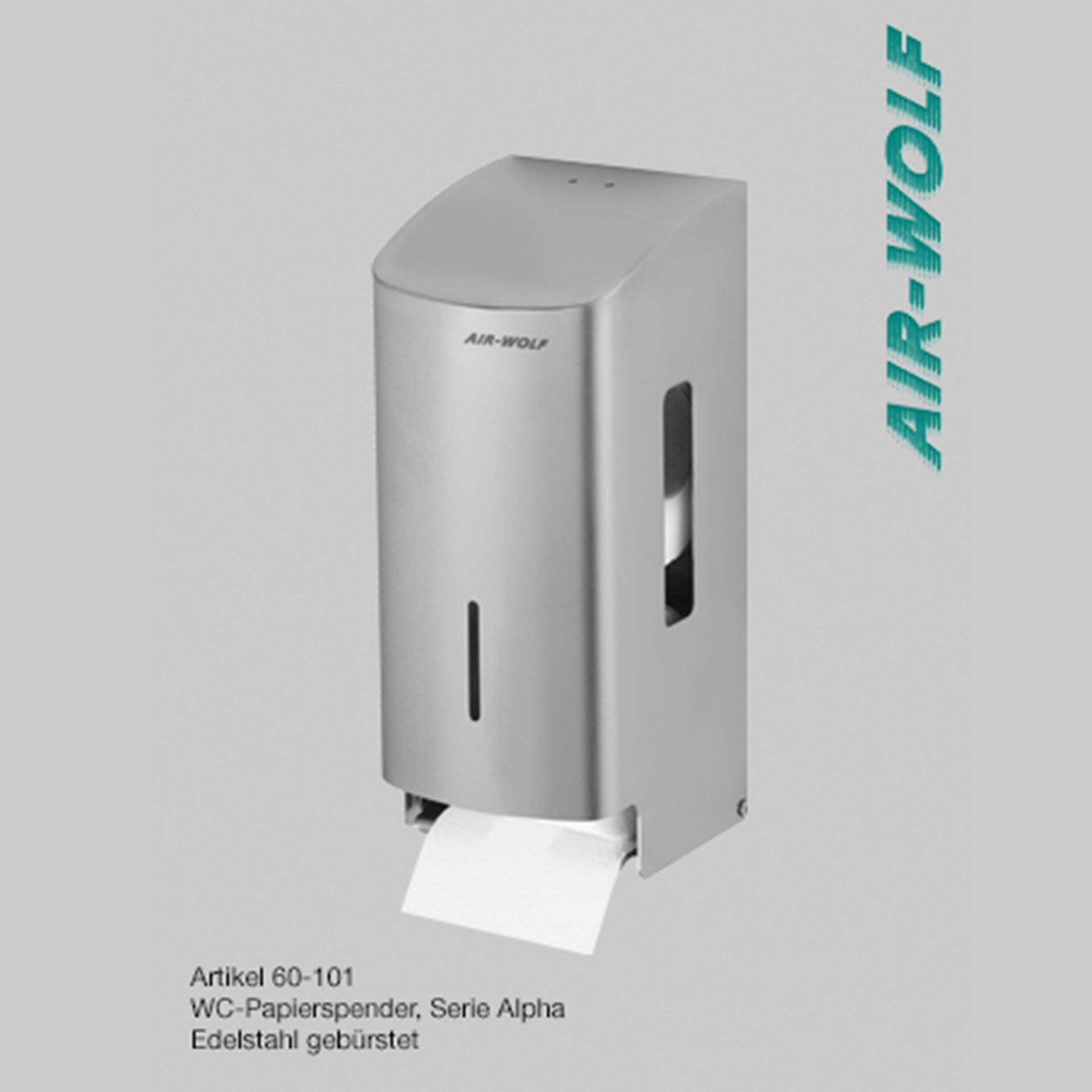 """Air-Wolf WC-Papierspender Edelstahl - Serie """"Alpha"""" - für 2 Haushaltsrollen"""