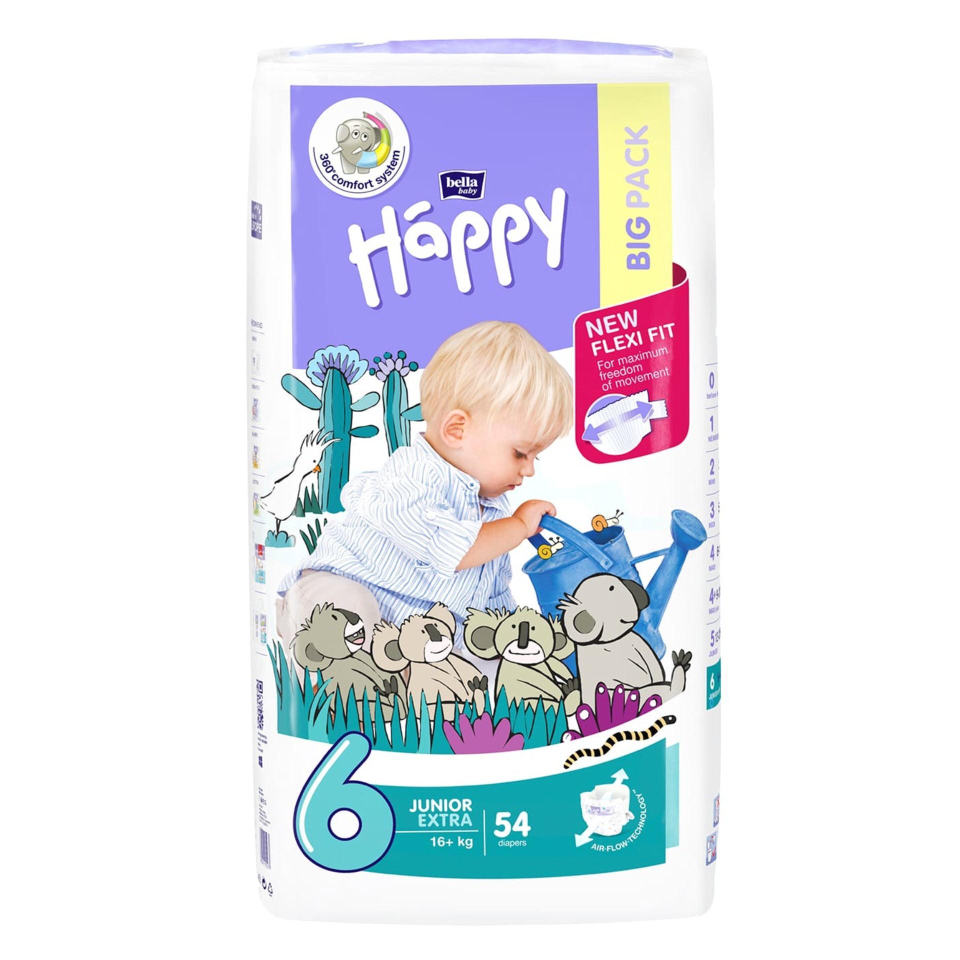 Bella Baby Windeln Junior Extra - Größe 6 (16+ kg) Big Pack mit 54 Stück