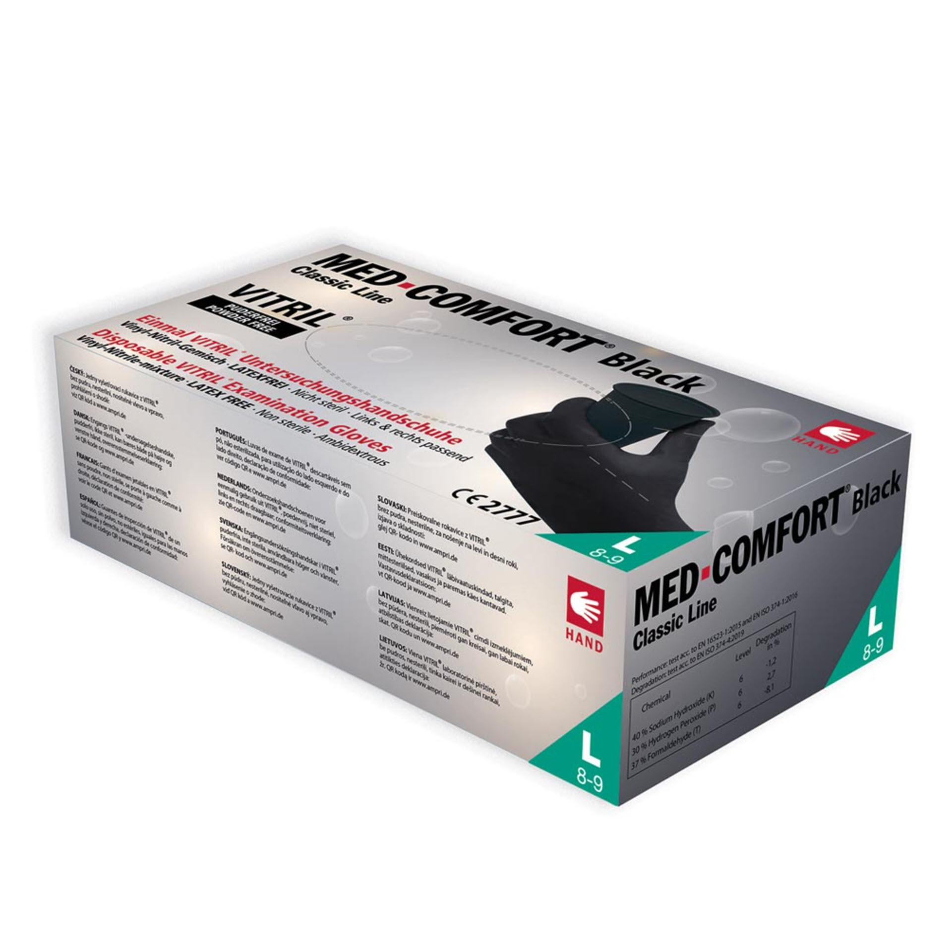 AMPri Vitril Med-Comfort Black - Einmal Vynil-Nitril Schutz- und Untersuchungshandschuh 01252