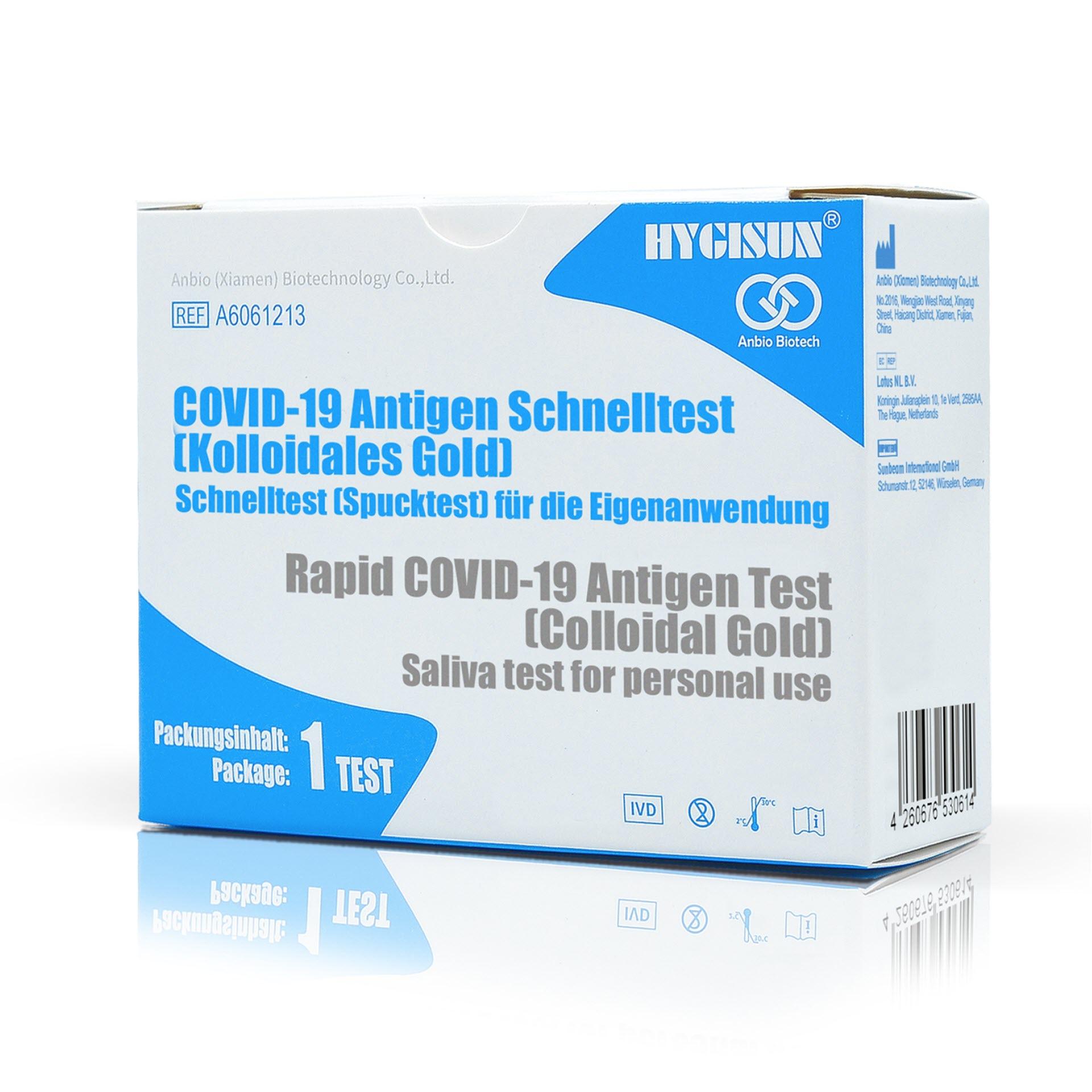 "Hygisun Covid-19-Antigen Schnelltest - ""Corona Spucktest"" - 1er Pack Laientest - Kolloidales Gold"