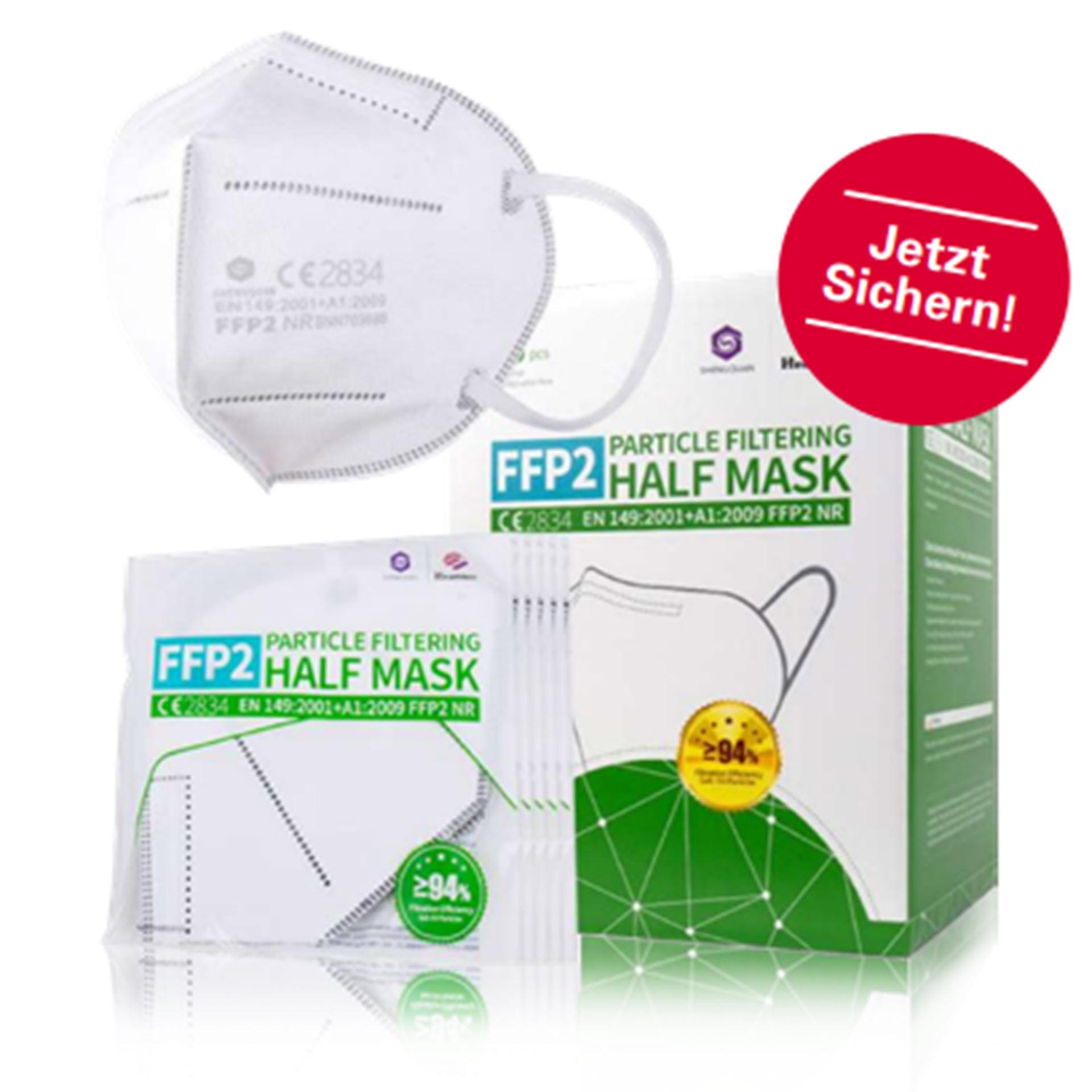 2er Pack Atemschutzmaske - FFP2 NR Schutzklasse - Particle Filtering Half Mask (EN146:2001+A1:2009)