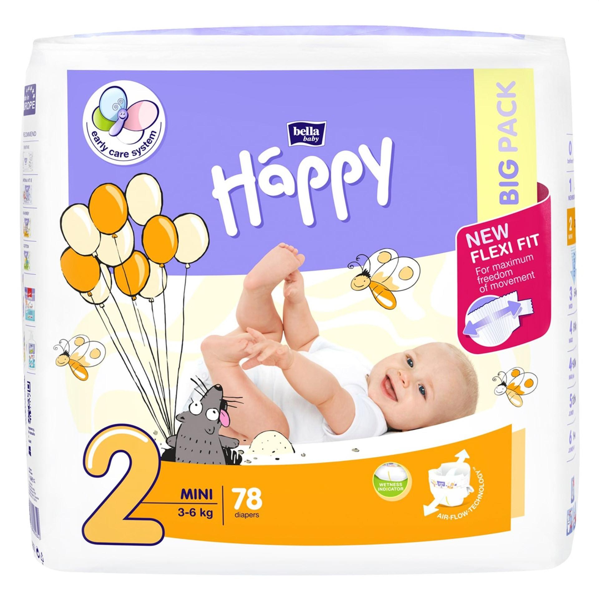 Bella Baby Happy Windeln Mini - Größe 2 (3-6 kg) Big Pack mit 78 Stück