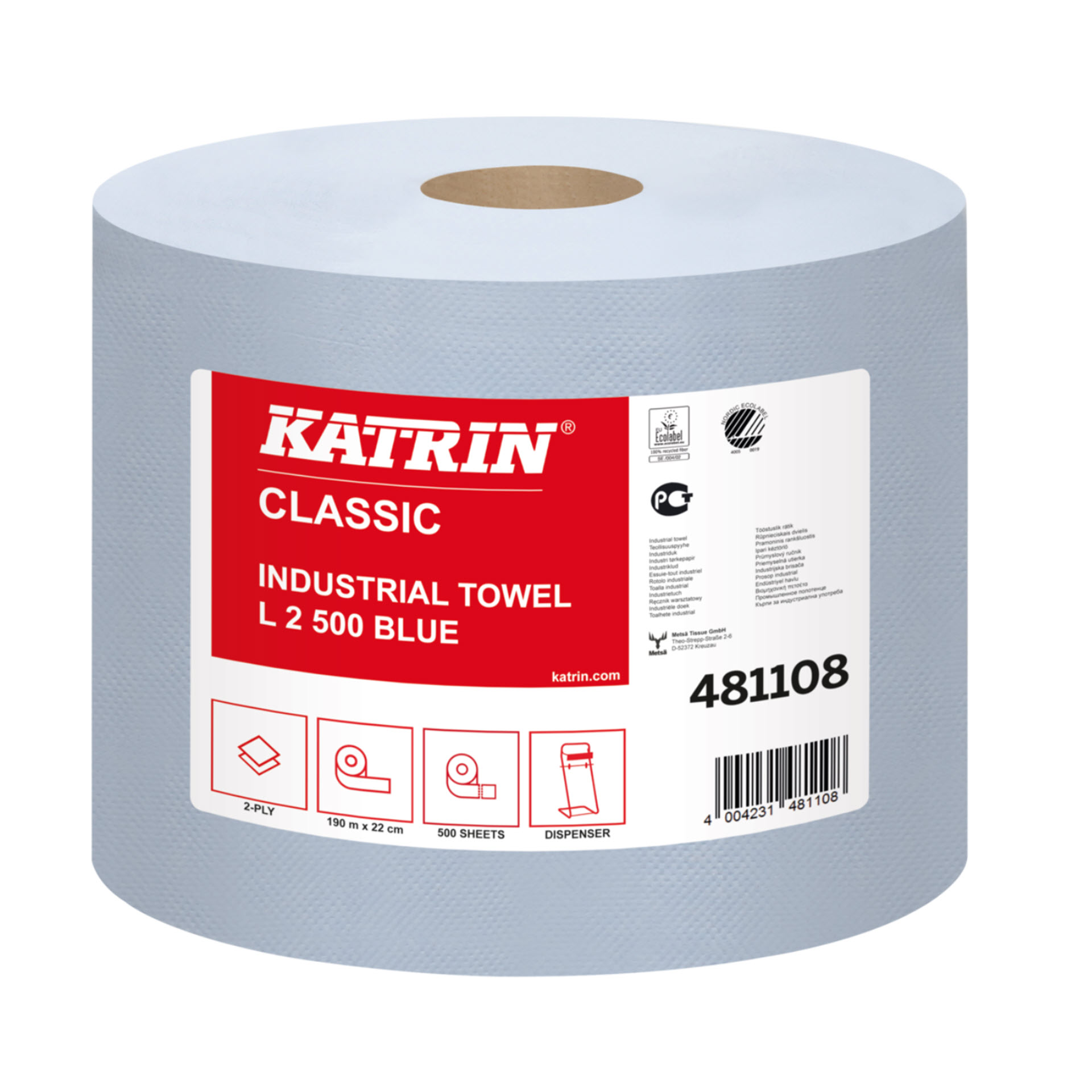 Katrin Classic Industrial Towel L2 Blue laminated - 481108 - Putztuch / Tissue-Wischtuch