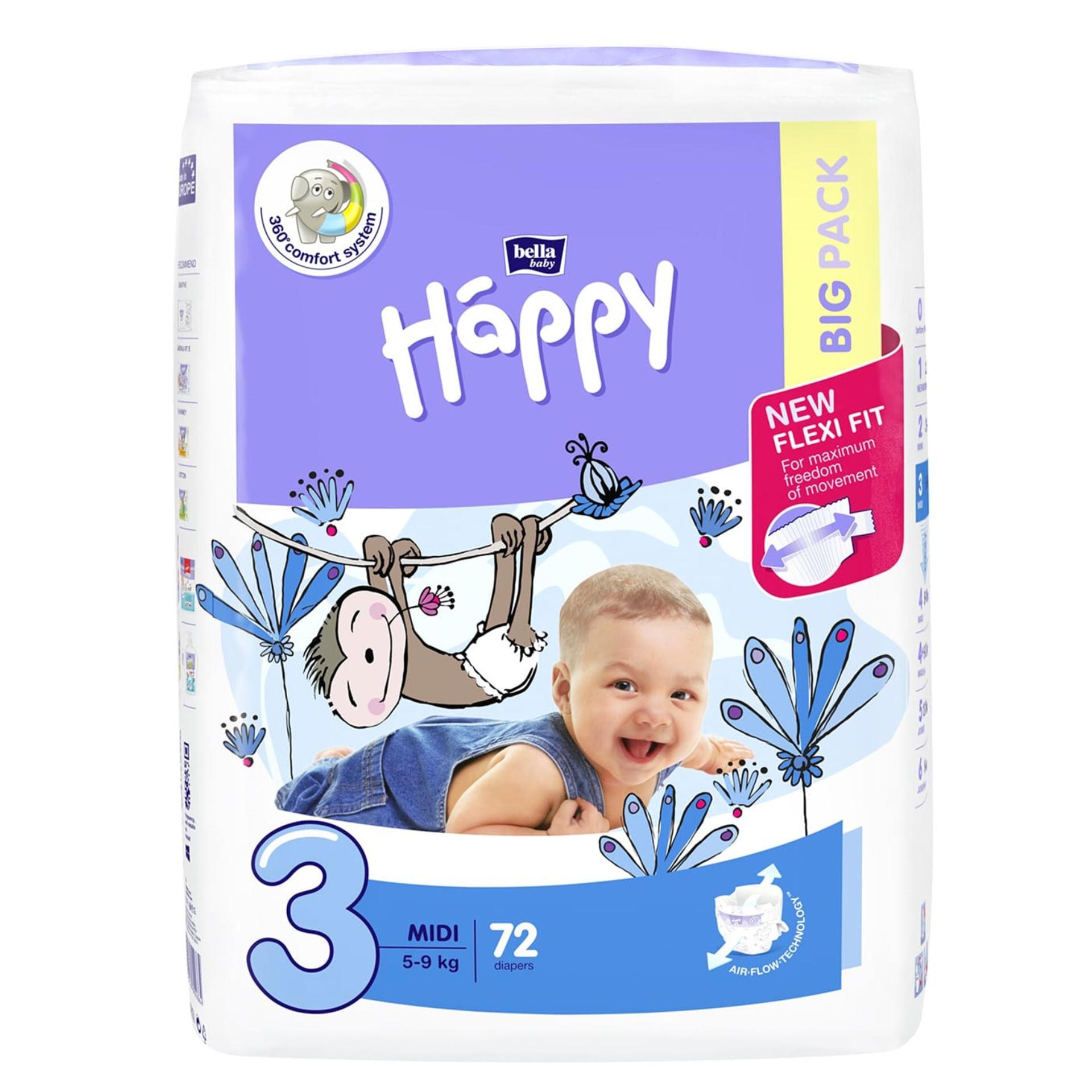 Bella Baby Happy Windeln Midi - Größe 3 (5-9 kg) Big Pack mit 72 Stück